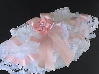 Handmade pink satin ribbon trim frilly knickers baby/toddler nappy cover