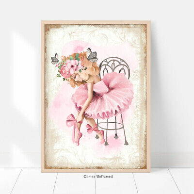 Ballerina A4 Print Wall  Picture Kids Room Pink Ballet Girls Room Gift Unframed