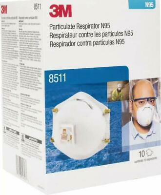 3M 8511 Particulate Respirator Mask, NIOSH Approved, N95 With Valve, 10 Per Box