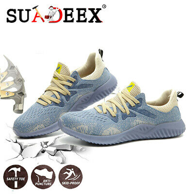 Womens Safety Working Shoes Indestructible Steel Toe Protective Sneakers Blue