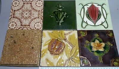 6 Mixed Antique Hearth Cast Iron Fireplace Tiles. William Morris Style