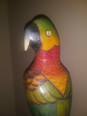 Vintage Antique Hand Carved - Hand Painted Wooden Parrot Bird - 17 inch Tall