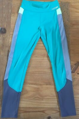 JUSTICE Size 14 Active Leggings Green Teal Gray Block Color EUC Full Length