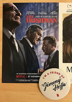 The Irishman (2019) Cinema Promo Pin Badge & Tri-Fold Postcard Netflix Scorsese
