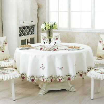 Embroidered Tablecloth Floral Lace Round Cover Home Dining Table Banquet Decor