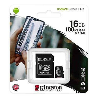 Kingston 16gb Micro SD SDHC Memory Card UHS 1 Class 10 With Adapter Phone Camera