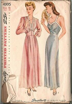 1930s VTG Glamorous Robe and Negligee Pattern Simplicity 4995 Size 16 Bust 34