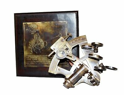 """Antique solid brass nautical 4"""" sextant navigation marine with wooden box item"""