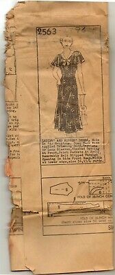 Antique VTG 1920s Dress and Capelet Pattern 2563 Size 36 bust Unknown Maker