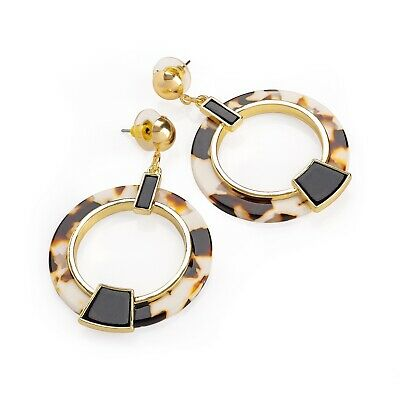 Chic Art Deco Style Geometric Marble Cream Tortoise Shell Acrylic Drop Earrings