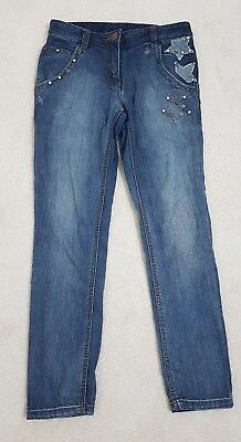 NEXT Kids Girls  Age 10 BLUE Denim Jeans Trousers Studs Patches Details