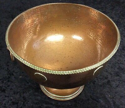 Large Arts And Crafts Copper Punch Bowl Decorated With Georgian Coins!