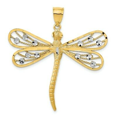 14k Two-tone Y//W Gold Polished 2 Level Budded Cross Pendant