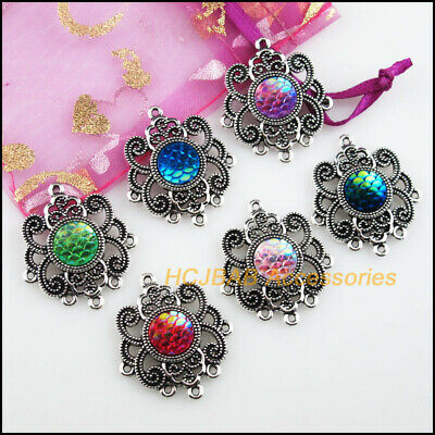 6Pcs Tibetan Silver Tone Crystal Mixed Flower Charms Connectors 21x28mm