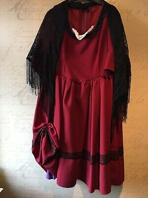 Victorian//Gypsy//OLIVER Peasant Girl BURGUNDY NANCY DRESS costume all ages