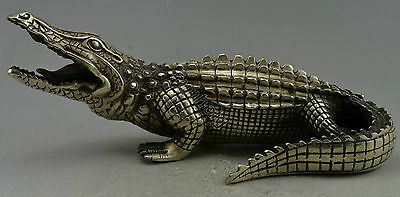 Collectible Decorated Old Handwork Silver Plate Copper Carved Crocodile Statue