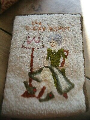 """Vintage Primitive Hand Hooked Wool Rug Pillow """" The Happy Hooker"""""""