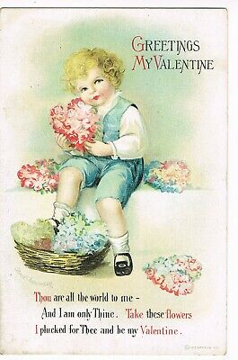 """ANTIQUE VALENTINE Postcard  (ELLEN CLAPSADDLE)    """"THOU ARE ALL THE WORLD TO ME"""""""