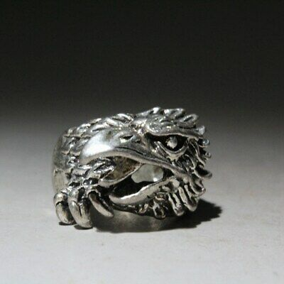 China Collectable Miao Silver Eagle Head Beautiful Auspicious Interesting Ring