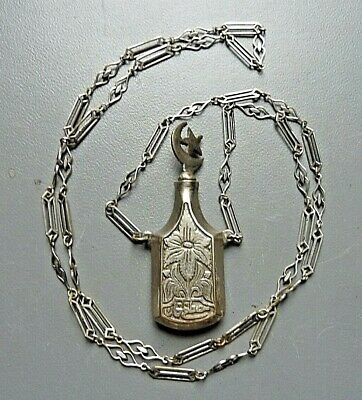 Vintage Islamic Middle Eastern Scent perfume Bottle Pendant Necklace
