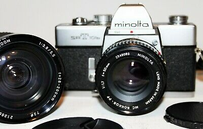 MINOLTA SRT 101b 35mm SLR film Camera MC ROKKOR-PF 50mm f1.7 Lens + ZOOM Lens