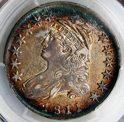 1811 Capped Bust Half Dollar Small 8 PCGS AU53 Gorgeous Toning!