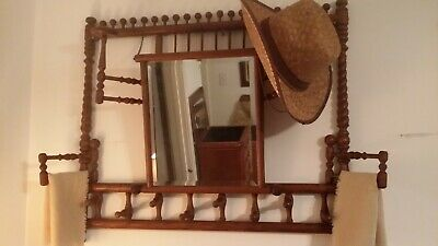 ANTIQUE 1800'S WALL HUNG VICTORIAN OAK STICK & BALL HAT/COAT RACK with MIRROR