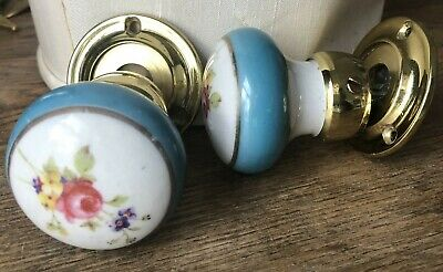Vintage Hand Painted Porcelain Floral Brass Doorknob Made In England Maymore