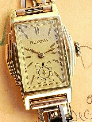 DD5: CLEAN STEPPED 36mm ART DECO 1936 BULOVA  BOLD YELLOW ROLLED GOLD MENS WATCH