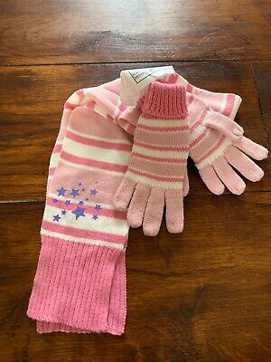 Girls Pink Scarf & Matching Glove Set- Aged 4-6yrs BRAND NEW