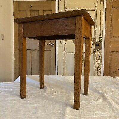 Vintage Solid Oak Small Side Table Occasional Table