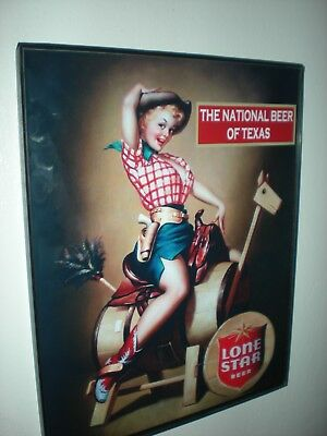 Lone Star Texas Pin-Up Girl on Horse Beer Bar Tavern Framed Print Man Cave Sign