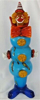 """Murano Italy Handmade Glass Clown Blue Red Yellow Multi-Color About 13 1/2"""" Tall"""