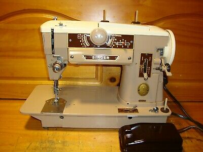Vintage Singer Sewing Machine Model 401A, Zigzag, Gear Driven,  Serviced