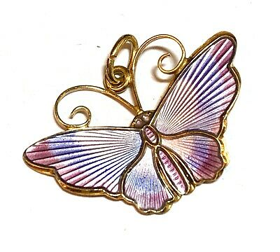 DAVID ANDERSEN Norway Sterling 925S Purple Enamel Butterfly Pendant