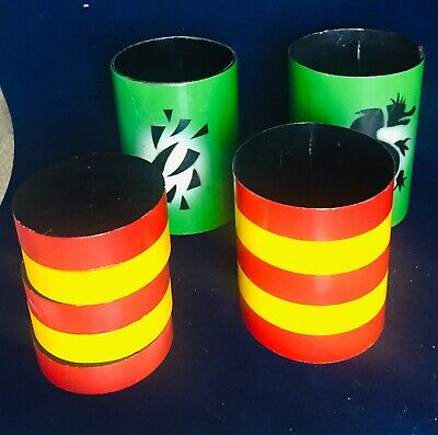 Vintage Magic Trick Apparatus Red & Yellow Checkers Mystery Green Cylinders