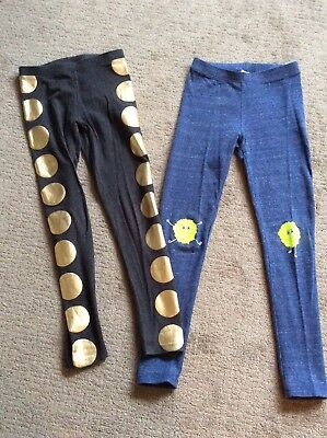 Lot Of 2 Pairs Crewcuts Girl Leggings 10 Max the Monster, Gold Foil Dots EUC