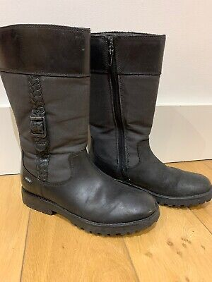 Clarks Girls Black Leather Gore-tex mid calf Boots Size 1F(33)