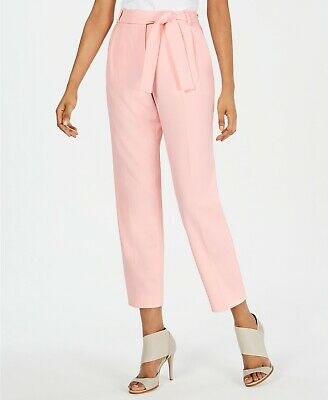 Calvin Klein Women's Belted Ankle Pants Trousers, Pink, Size 12, $89, NwT