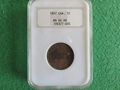 1897 Canada 1 C Cent Penny Coin NGC MS 64 RB Red Brown - RARE!!!