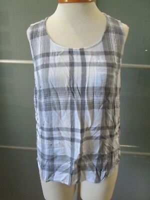 Anthropologie Cloth & Stone Blue, Beige & Gray Plaid Tank Top Size S