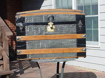 Restored Antique Trunk  Pat'd 69 /70  As Much As A 150 Yrs Old!