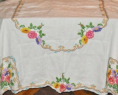 "Vintage TABLECLOTH - Rectangular - CREWEL EMBROIDERY - 68"" x 52"" FESTIVE FLORAL!"