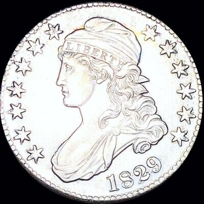 1829 Capped Bust Half Dollar APPEARS UNCIRCULATED Philadelphia ms bu 50c Silver!