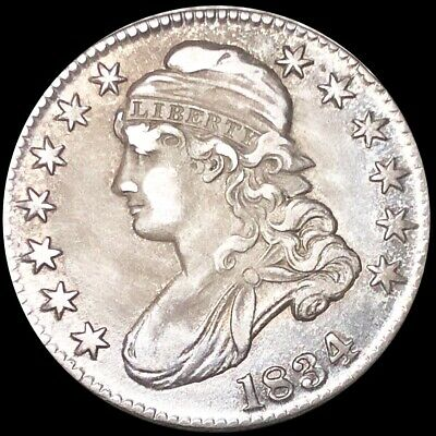 1834 Capped Bust Half Dollar CLOSELY UNCIRCULATED Philly Shiny 50c Silver Coin!