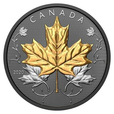 MAPLE LEAVES MOTION 5 oz Silver Proof Gold&Rhodium Coin $50 CA 2020 COA# 11/1000