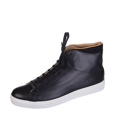 Leather High Top Sneakers Size 44 / UK 10 Contrast Suede Lace Up