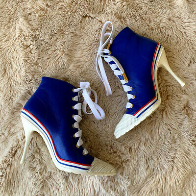 Moschino Shoes Blue Sneaker Lace Up Booties 36 Womens High Heel
