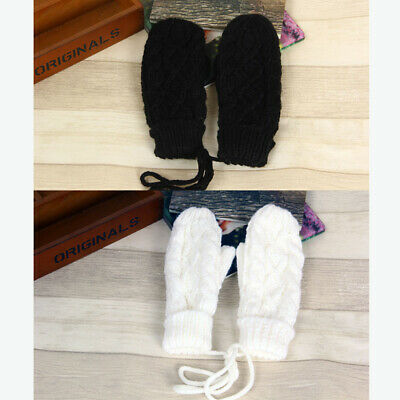 Women Outdoor Warmer Cable Knit Woolen Full Finger Gloves String Mittens #HID