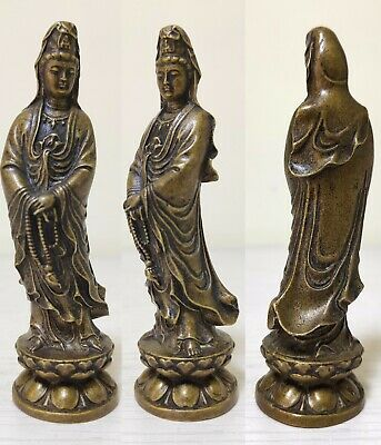 guanyin Collectible Vintage Old Handwork Tibet bronze Carve Kwan-yin Statue